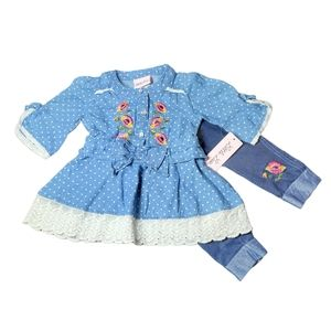 Little Lass Embroidered Denim Outfit NWT 12M